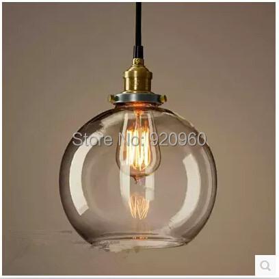 Creative Glass Ball Chandelier Retro copper chandelier lamp American Bar chandelier lamp American country chandelier