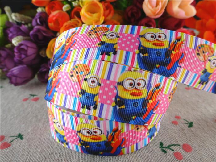 15070425, 1'' (25mm) 50 yards Minions printed grosgrain ribbons cartoon ribbon hair accessories tape(China (Mainland))
