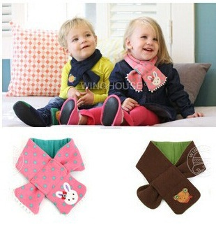 Free shipping New children's scarf Kids boy girl warm Shawl Winter bear style Neck Warmer 1pc WJ015(China (Mainland))