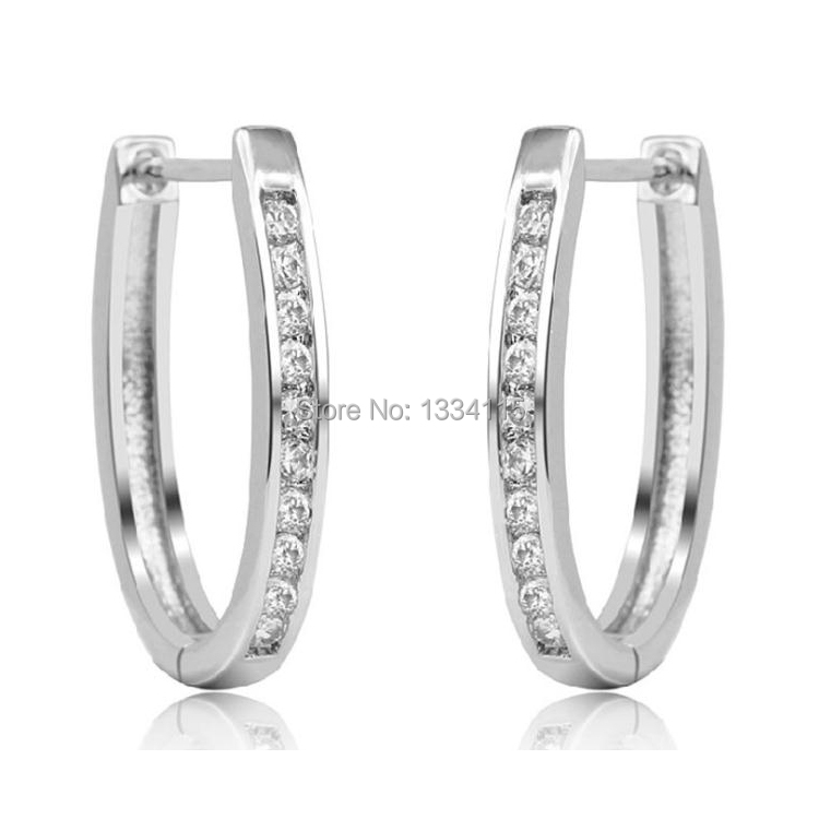 Argola Brinco 925 Sterling Silver Jewelry Statement Large Hoop Earrings Women AAA CZ Diamond Fashion 2015 - J&L store