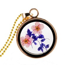 Vintage Jewelry Natural Plant Real Flower Clover Floating Locket Charms Gold Plated Chain Neckalces Pendants For