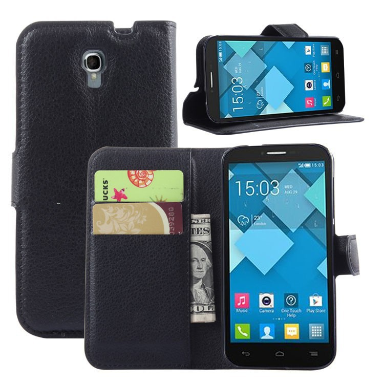 produto Slim Luxury Handmade PU Litchi Leather Wallet Case Folio Cover With Stand Function For Alcatel Alcatel One Touch Pop 2  OT5042x