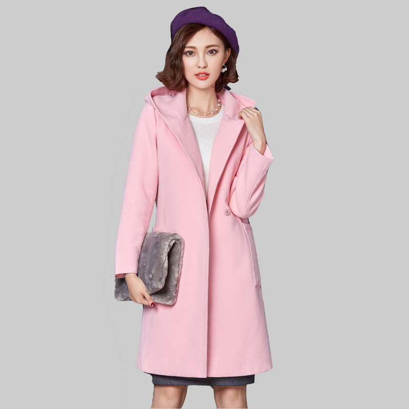 2016 Fashion Hooded Long Section Woolen Jacket Brand Women Autumn Winter Loose Woolen Coat Plus Size XXL Women Overcoat DQ870(China (Mainland))