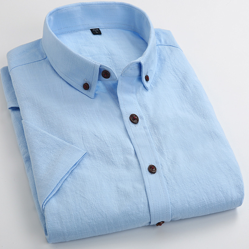 Men Retro Linen Shirt 2016 Summer New Business Casual Short Sleeve Solid Color Man Slim Non-Iron Breathable Dress Shirts M082(China (Mainland))