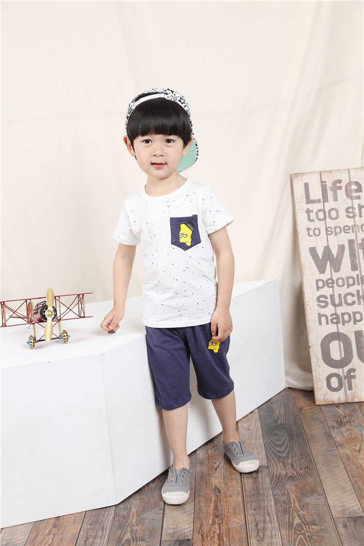 2016 summer models new children's clothing children boy in suit in Europe and America cartoon short sleeve shirt+ short pant 2-7(China (Mainland))