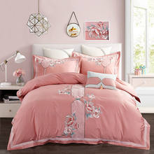 4/7pcs Egyptian cotton Embroidery Duvet Cover Sets King Size Bedding Sets Pillowcases jogo de cama Bed Linen(China)