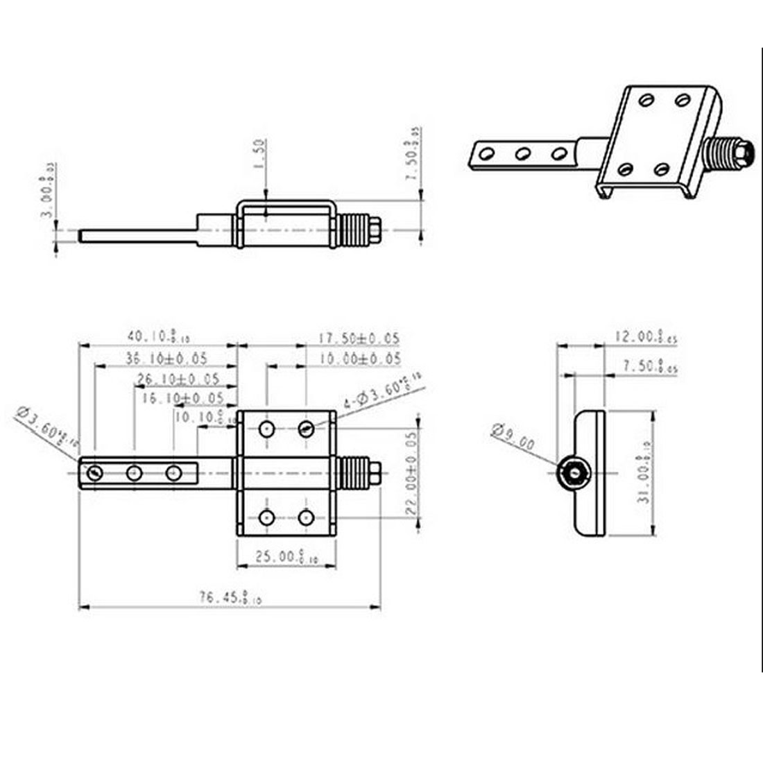 UXCELL 77Mm Length 360 Degree Rotation Nickel Plated Friction Torque Hinge Silver Tone(China (Mainland))