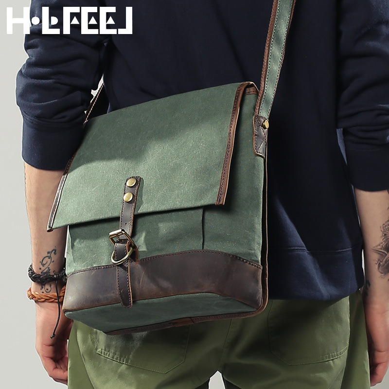 2015 men's casual vintage cowhide messenger bags shoulder men khaki beige blue canvas geunine leather - YONG BAG store