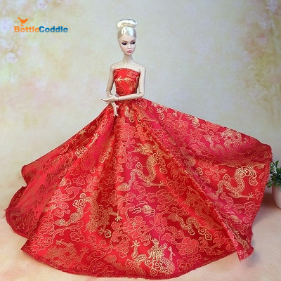 Top! Doll Dress Chinese Red Style Evening Gown Purely Manual Clothes Wedding Dress for Barbie Dolls Noble Suit Free Shipping(China (Mainland))