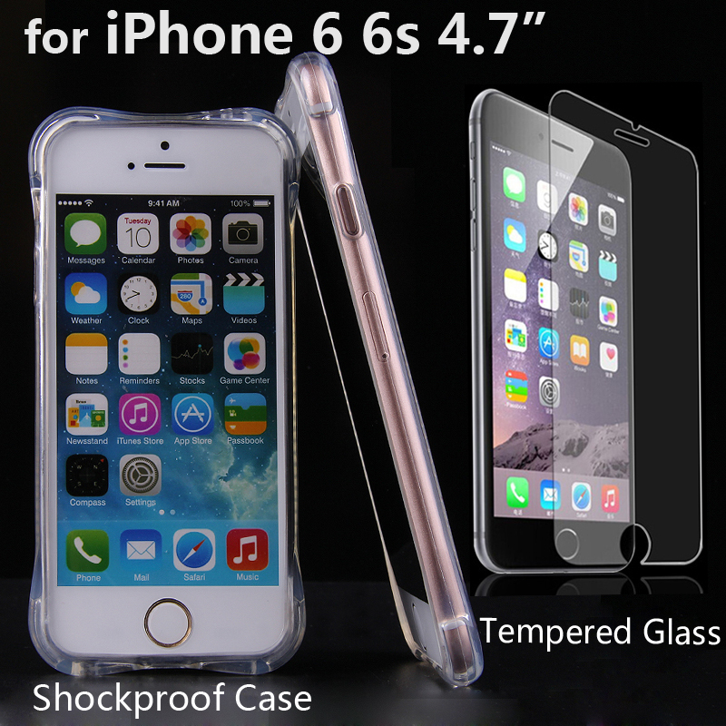 """For iPhone 6 6S 4.7""""TPU Full Air Cushion Protective Shell Case Shockproof Cover+2.5d HD Tempered Glass sreen Protector film(China (Mainland))"""