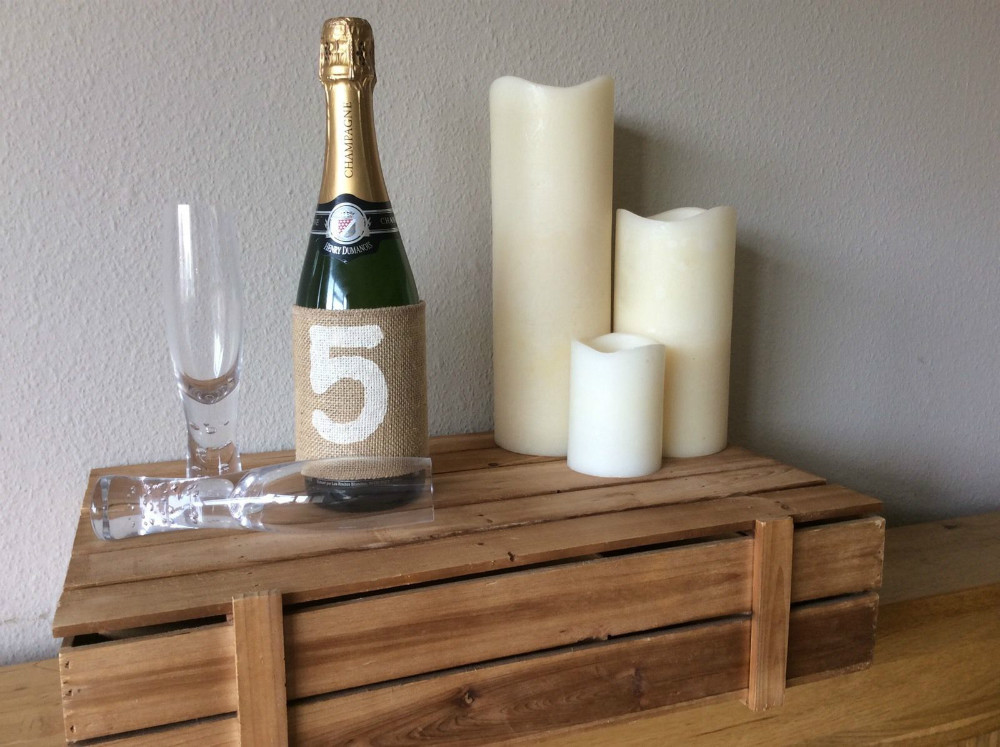 New rustic wedding party table numbers1 10 vintage hessian for Wine bottle decorations handmade