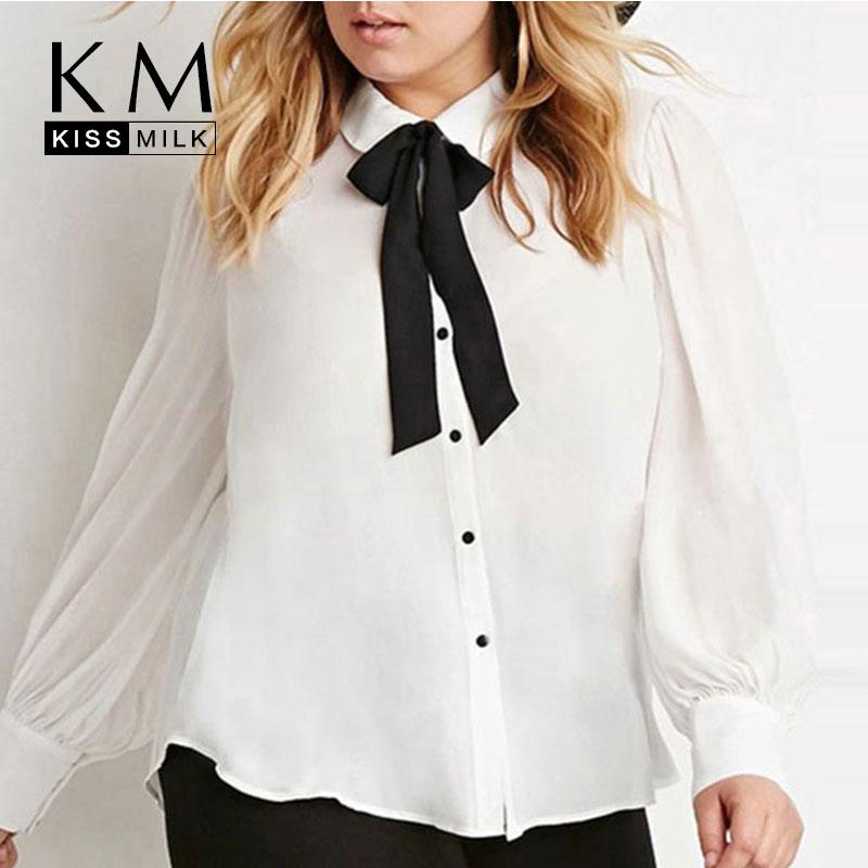 Kissmilk plus size new fashion women bow button down big for 6xl button down shirts