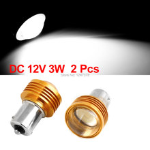 45mm x 25mm (L*D) Pair Gold Tone Shell 1156 3W White LED Projector Lens Car Turning Signal Light(China (Mainland))