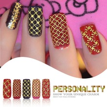 Top Fashin Hot Sale Unique Beauty One Sheet Golden 3D Nail Stickers Decals Manicure stickers Freeshipping