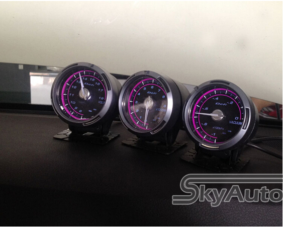 0 Profit! Mad Sale! 1 PC Defi C2 Super Frosted Aluminium 60mm/2.5 inch Purple/Blue LED Car Oil Temp Guage Meter, Oil Temp Tach(China (Mainland))