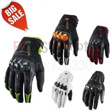 Hot Sale Top Leather Bomber Carbon Fiber Motorcycle Mens Gloves / Off Road Motorbike Bicycle Cycling Gloves 5 Colors size M-XL(China (Mainland))