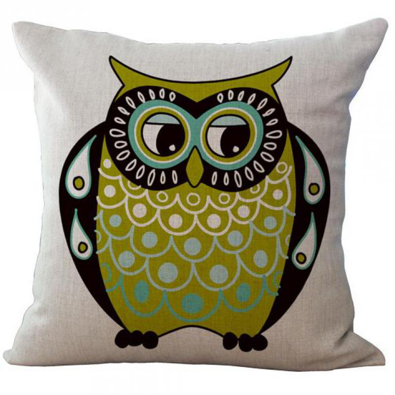 2016 New Hot Cartoon Color Big Eyes Owl Series Linen Throw Pillow Case Home Kids Room