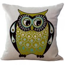 Big Eyes Owl Series Linen Throw Pillow Case