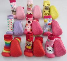 Cute Girl Boy Bady Infant Floor Socks Shoe Soft Rubber Sole Walking Shoe Pre Walker Toddler Shoes Socks First Walkers(China (Mainland))