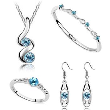Свадьба ювелирные комплект 925 серебряный кулон ожерелья серьги кольца браслет браслеты ...