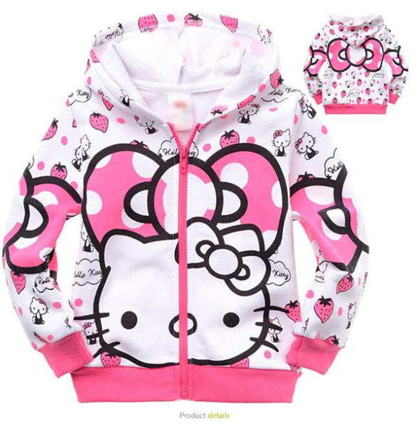 2015 New Hello Kitty Hooded Outfit Sweatshirt Casual kids Clothes Spring Autumn Winter For Girls Kids Children Coat(China (Mainland))