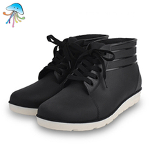 2016 New Leisure Waterproof Non-slip Lace-Up Explosions Fashion Rain Boots for Men Male Black Color Low Tube Rain Boots Shoes