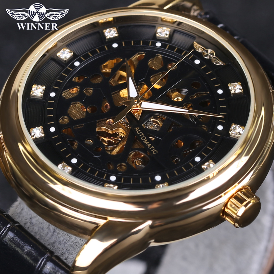 Фотография 2016 New WINNER Top Luxury Brand Men Watch Automatic Self-Wind Skeleton Watch Black Gold Diamond Dial Men Business Wristwatches