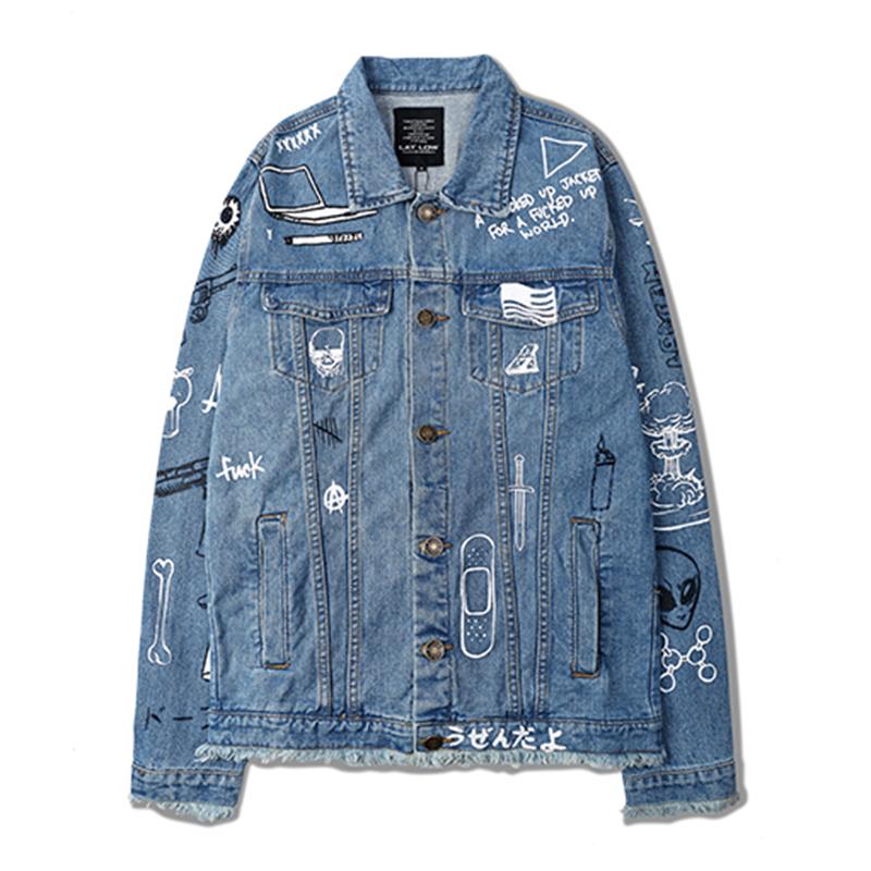 Hip hop men/womens fashion denim jacket C2H4 LA GRAFFITI long sleeve yeezus yeezy jeans jackets autumn outwear coats(China (Mainland))