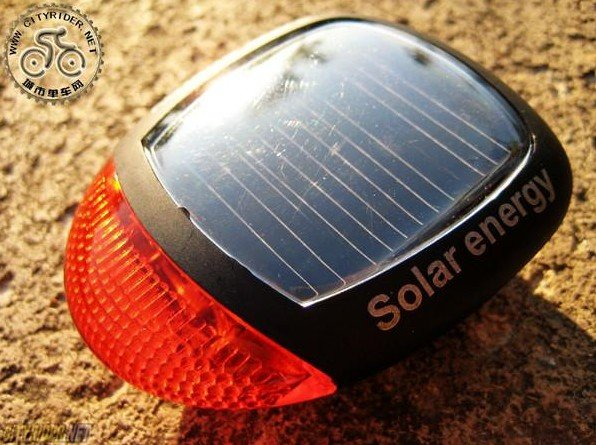 Free shiping NEW Solar Power Bicycle Bike Rear Tail Safety LED Light+free shipping China leds light Suppliers(China (Mainland))
