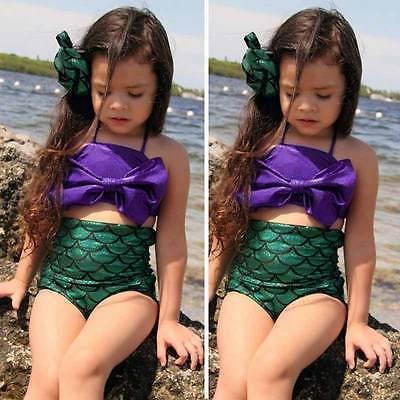 Девушки дети младенца хвост русалки Swimmable комплект бикини купальник спортивный костюм
