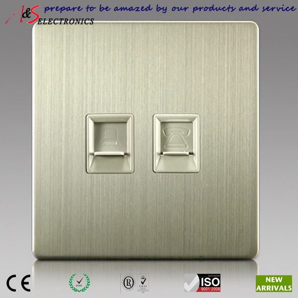 Classy Home Decoration 2 Gang RJ11 telephone and RJ45 Ethernet socket with Brushed Stainless Steel Faceplate<br><br>Aliexpress