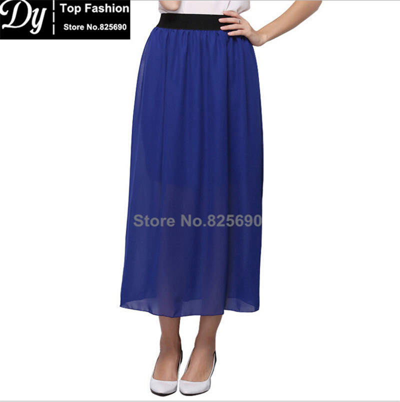 2016 Lovely Casual Women Skirts Chiffon Candy Color Long Skirt High-waist Elastic Waistband Free Size - Dy-Top Fashion store