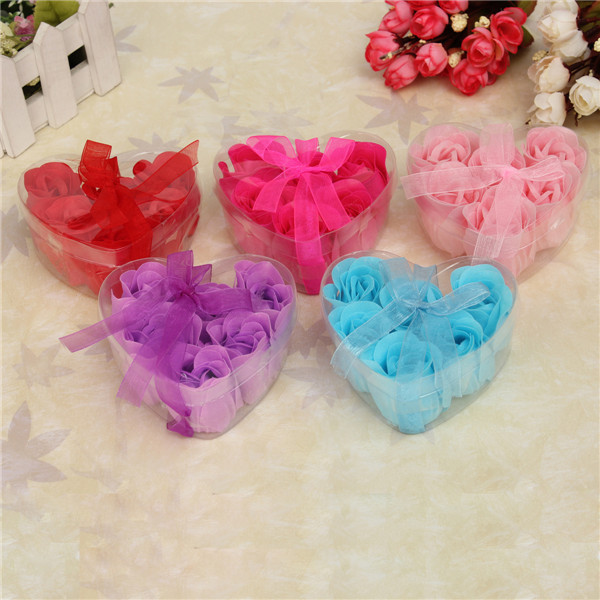6 Color Bath Gift Colorful Heart-Shaped Rose Soap Handmake Rose Flowers Petals Decor For Romantic Wedding Favor(China (Mainland))