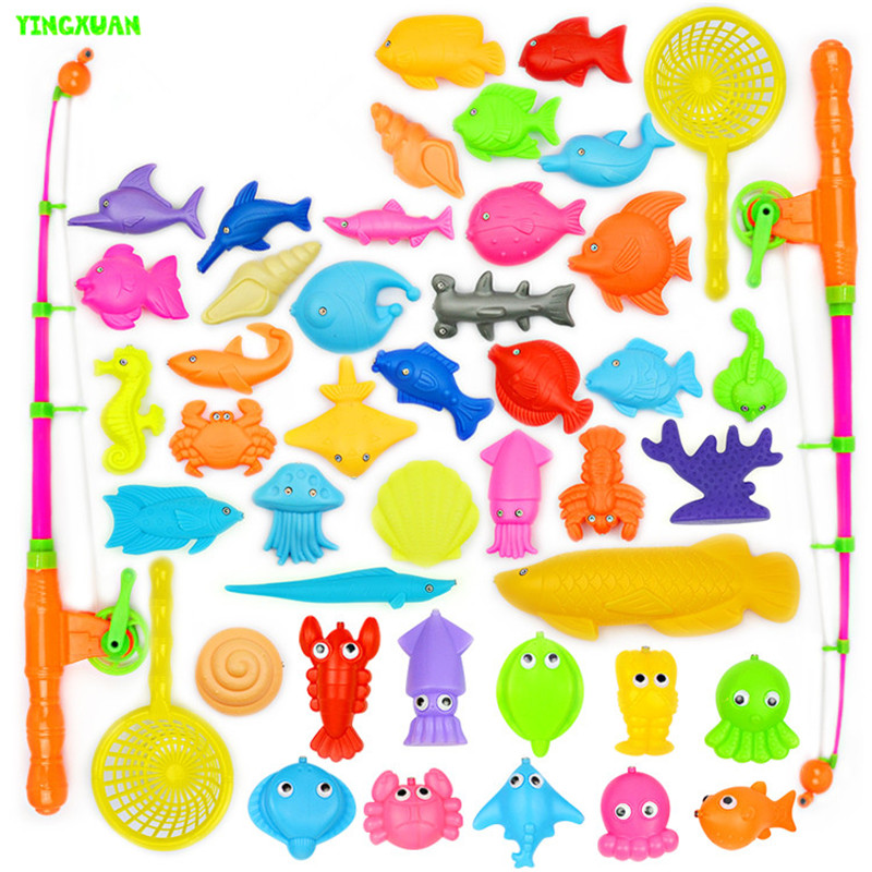45pcs/set Plastic Magnetic Fishing Toys Set Game Children 2 Poles 2 Nets 41 Magnet Fish Indoor Outdoor Fun 3-6 years Baby(China (Mainland))