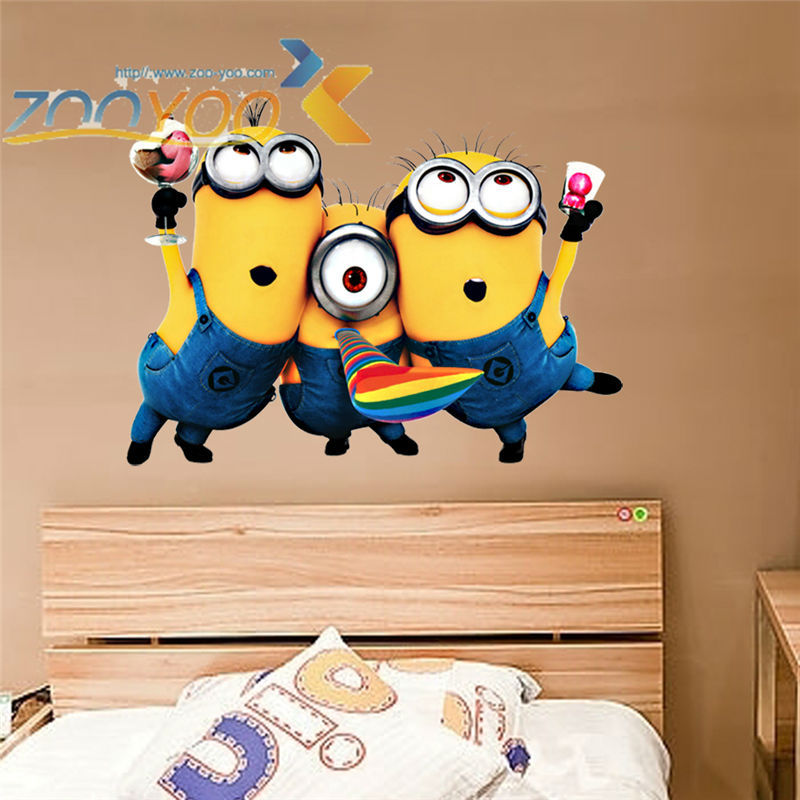 Minions of Despicable me 2 wall 3D stickers for kids rooms of ZooYoo1406S adesivo pvc decorative removable wall decal parede(China (Mainland))
