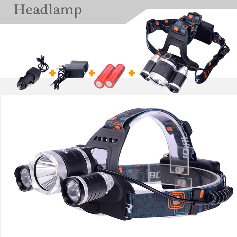 Brand New 18650 Battery+RJ3000 5000LM LED Headlamp CREE XML T6 Modes RechargeableHead Lamp Spotlight For Hunting+Charger(US EU)(China (Mainland))