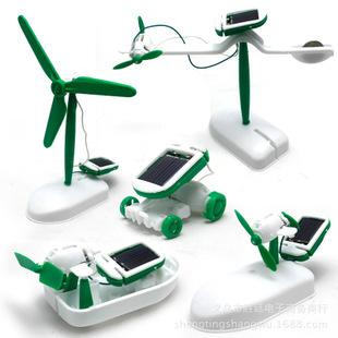 New More DIY 6 IN 1 Educational Learning Power Solar Robot Kit boat Solar DIY energy fan dog(China (Mainland))