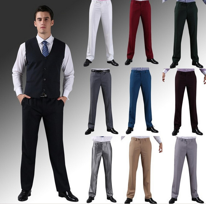 Men Casual Suit Pants Brand Formal Business Wedding Straight Dress Trousers Slim Fit Hight ...