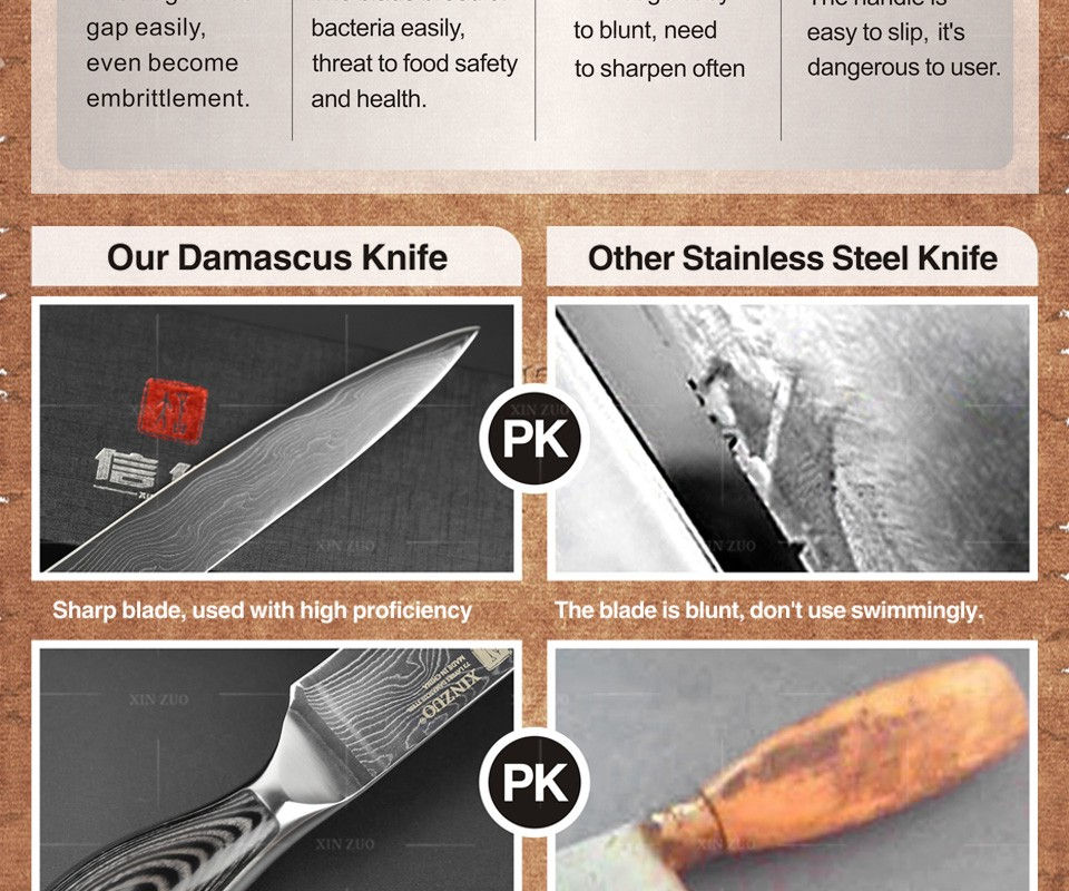 Buy High Quality Kitchen knives set Japanese VG10 Damascus steel kitchen knife set cleaver chef utility wood handle free shipping cheap
