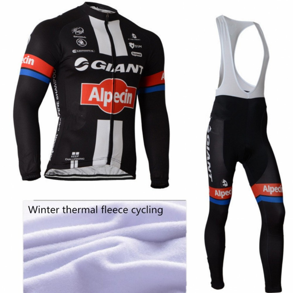 2015 GIANT Winter Thermal Fleece Cycling Jersey Long Bib Pants Ciclismo Maillot Bike Clothing Bicycle Wear MTB Clothes GEL Pad(China (Mainland))