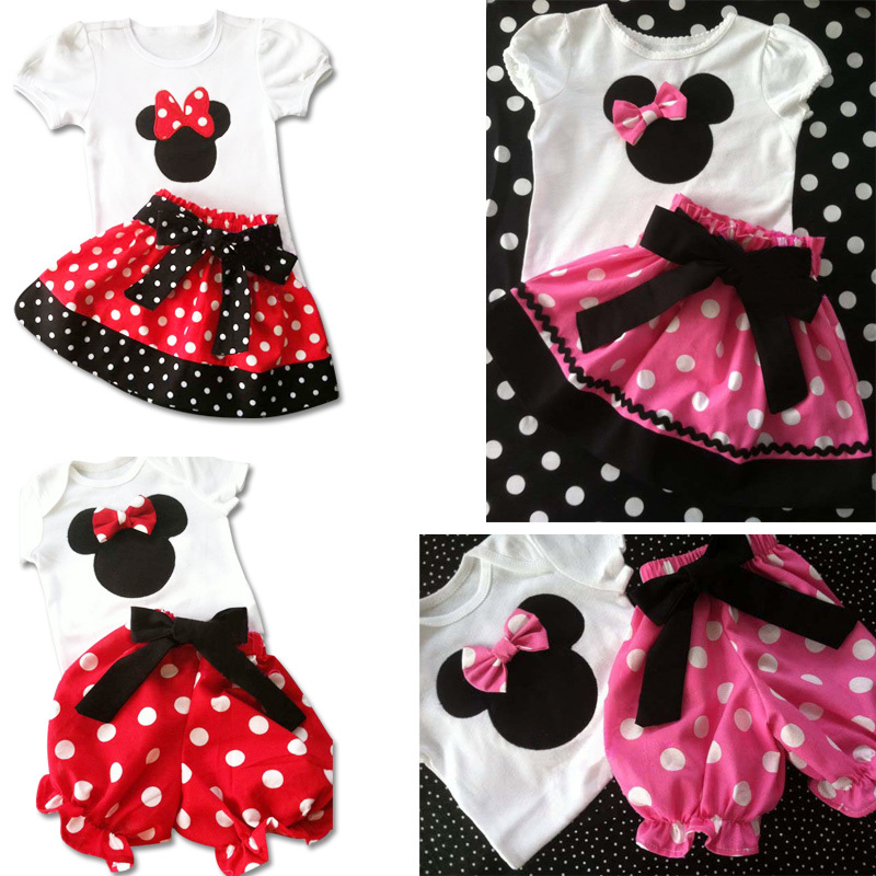 2014 Summer New Children Girl's 2PC Sets Skirt Suit Minnie Mouse baby Clothing sets dots skirt dots pants girls clothes(China (Mainland))