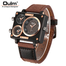Buy Men Quartz Watches New Fashion Sport Oulm Japan Double Movement Square Dial Compass Function Military Cool Stylish Watch relojio for $15.85 in AliExpress store