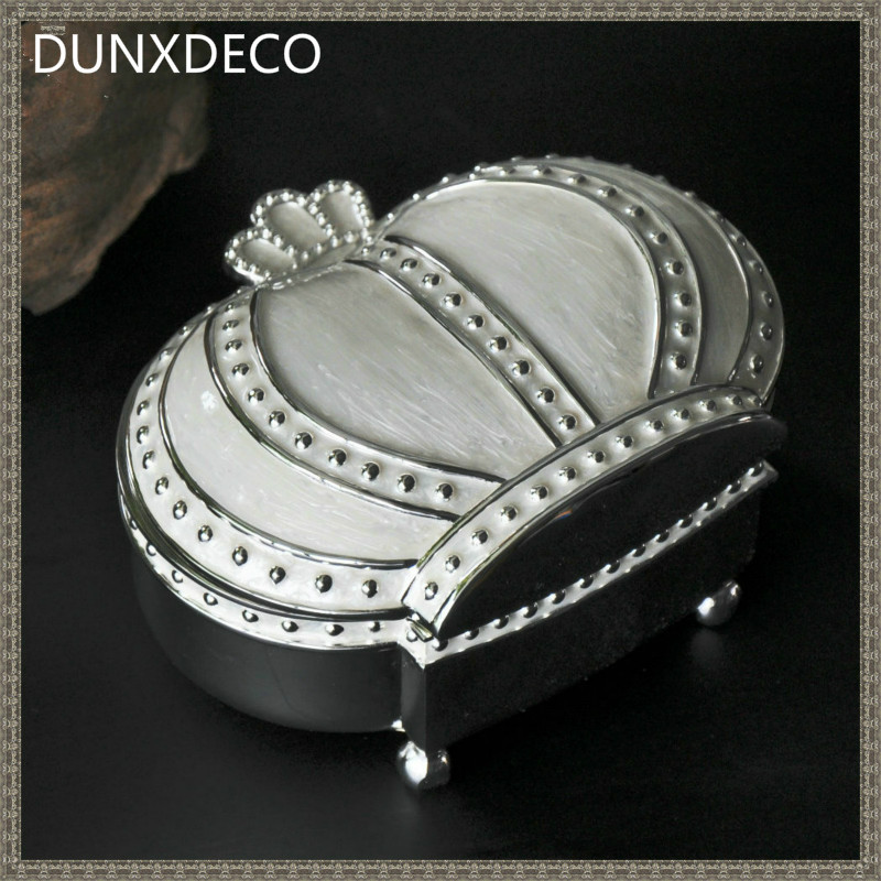 DUNXDECO Vintage Crown Luxury Key Accessory Storage Box Multifuction Zinc Craft Table Decoration Home Office Storage Gift(China (Mainland))