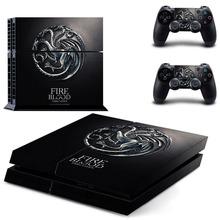 Fuego de Sangre Targaryen Engomadas de La Piel para Sony PS4 Playstation 4 Consola PS4 y 2 Controladores de Decal Sticker