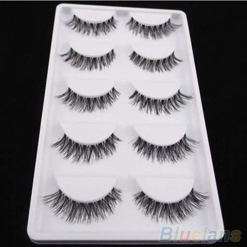 5 Pairs Lot Black Cross False Eyelash Soft Long Makeup Eye Lash Extension(China (Mainland))