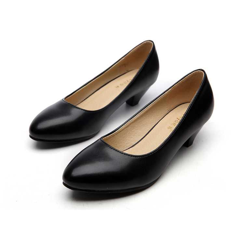Concise Women Leather Shoes 3cm Black high heels women 2016 new fashion Pump for Office lady(China (Mainland))
