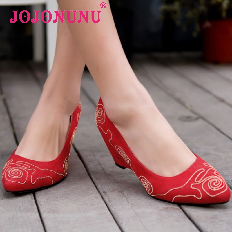women wedge high heel shoes flower lady pointed toe sexy brand fashion pumps heeled footwear heels shoes size 34-40 P16213<br><br>Aliexpress