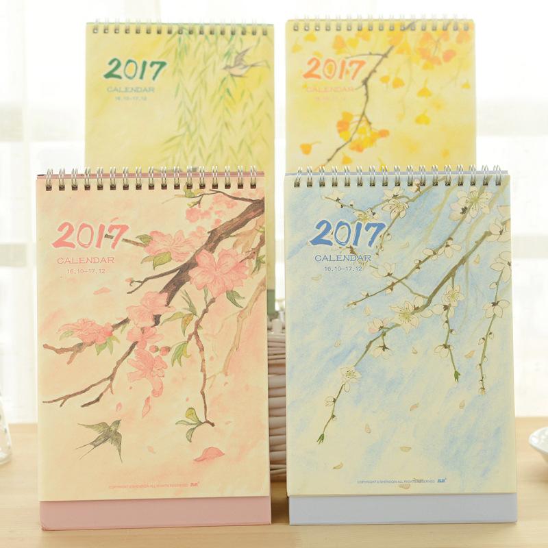 10/2016-12/2017 Year Kawaii Seasonal Calendar Organizer Schedule Table Standing Calendar Planner Book Calendar 25*21*9.5cm(China (Mainland))