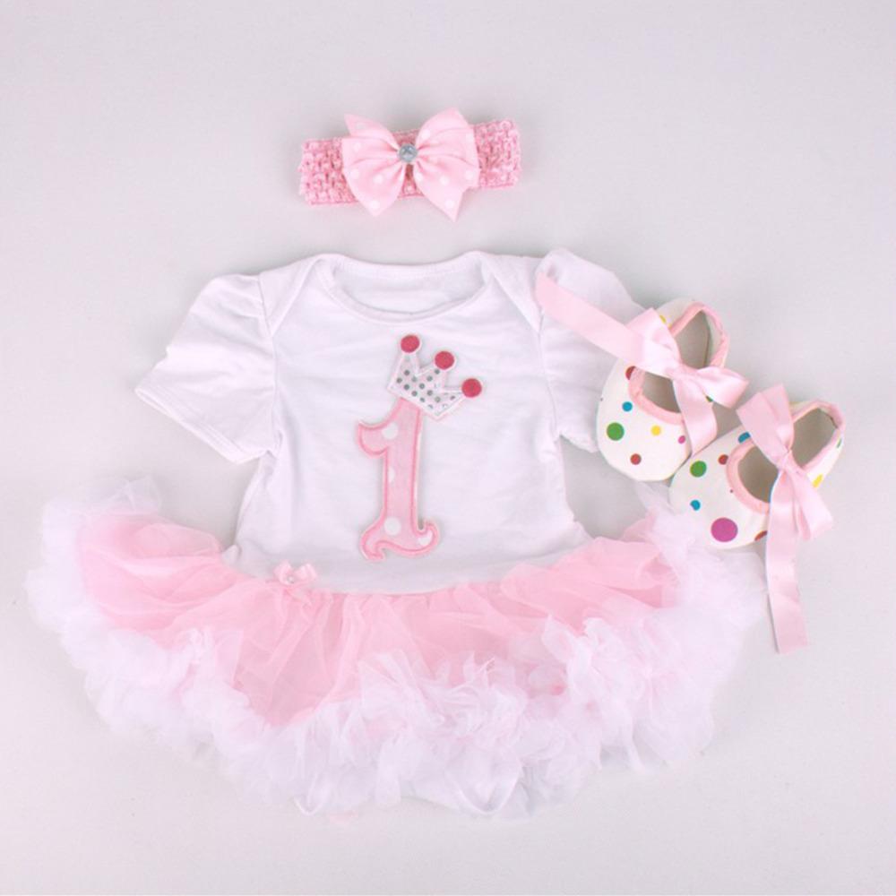 Baby Rompers 3PCs Infant Clothing Set Baby Girls White Pink 1st Birthday Tutu Dress Jumpersuit Headband Shoes(China (Mainland))