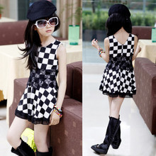 Summer Casual Cotton girl dress Sleeveless baby girls clothes Black &white squares girl dresses Girls Clothing kids clothes